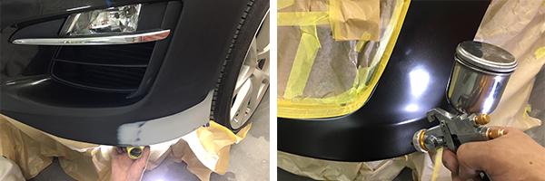 車のバンパーのキズ塗装修理